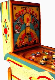 Canteen Stage Door by Gottlieb, 1944 Video Game Machines, Pinball Wizard, Penny Arcade, Abandoned Amusement Parks, Pool Tables, Arcade Machine, Old Coins, Canteen, Vintage Games