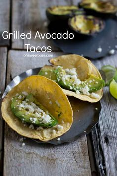 Grilled Avocado tacos, an absolute must this summer! They may not look like much, but trust me before you know it you'll be shoveling your 5th taco in your mouth.  You can substitute a cauliflower tortilla.