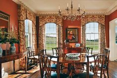 Antique hardwood floors offer a warm patina in the dining room.