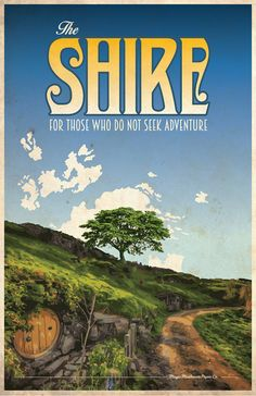 The Shire LOTR Travel Poster by MMPaperCo