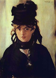 """Edouard Manet: Berthe Morisot with a Bouquet of Violets, 1872 Source: Wikimedia Commons (see """"image archives"""" below) More options Edouard Manet [French Realist/Impressionist Painter, 1832-1883] • Relationships: Brother-in-law of Berthe Morisot. Manet's students included Eva Gonzales."""