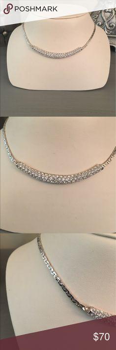 🛍 Swarovski Silver Crystal Bar Necklace Like new. Silver tone. Swarovski Jewelry Necklaces