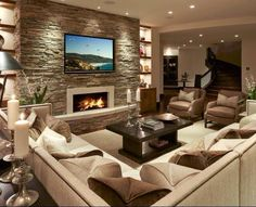 stone fireplace surround More