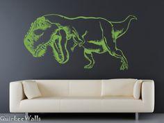 T Rex DINOsaur wall vinyl decal/stickergreen by quirkeewalls