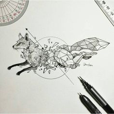 artist Kerby Rosanes an illustrator based in Manila Philippines. Kerby Rosanes uses ink primarily in their drawings. For more drawings ? Geometric Drawing, Geometric Shapes, Geometric Animal, Geometric Tattoos, Beautiful Drawings, Cool Drawings, Fuchs Illustration, Landscape Illustration, Fox Drawing