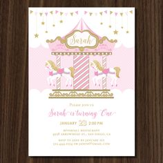 Carousel Birthday Parties, Carousel Party, Birthday Party Themes, Amusement Park Party, Horse Party Decorations, Invitaciones Baby Shower Niña, Garden Birthday, Festa Party, Birthday Party Invitations
