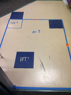 Teaching Real Life Area.  I have my students show area and perimeter by taping off a section of tiles.