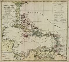 """Central America in 1696, including the """"Cannibalen Inseln"""".[[MORE]]The word cannibal derives from the word Carib, the native tribe that the Caribbean is named after.Consequently, this German map designates the Caribbean as The Caraiben, or, literally, The Cannibal Isles."""