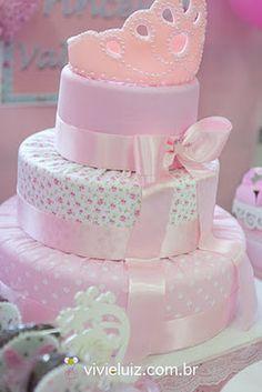 by Festa Provençal Garden Birthday Cake, Cupcake Birthday Cake, Adult Birthday Cakes, Girl Birthday, Cupcake Cakes, Baby Shower Cakes, Bolo Barbie, Diaper Parties, Fake Cake