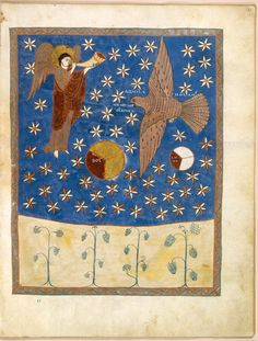 Saint-Sever Beatus, Saint-Sever, before 1072  Bibliothèque Nationale de France, Paris, MS lat. 8878, 14⅜ × 11 in. (36.5 28 cm)  Folio 141: Eagle in Flight from The Grand Medieval Bestiary: Animals in Illuminated Manuscripts by Christian Heck and Rémy Cordonnier, published by Abbeville Press, http://www.abbeville.com/bookpage.asp?isbn=9780789211279