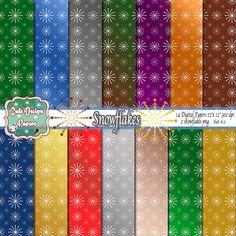 Papel Digital con Copos Navideño, Tramas Navideñas, Nieve, Copos Navideños, 14 Archivos JPG Alta Resolución, Scrapbook Navidad, copos nieve de CuteDesignPapers en Etsy