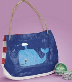 A whale of a beach tote :) Made with @Diane Winiecki Brand duct tape!