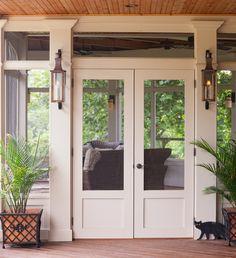 Double Screen Doors, Front Door With Screen, Wooden Screen Door, Front Doors, Single Doors, Panel Doors, Screened Porch Doors, Screened Porch Designs, Front Porch