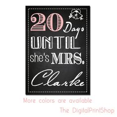 Custom bridal shower/baby shower- days to go, Decoration Digital bride gift bridesmaids- Personalized Printable Art, downloadable