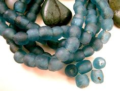 30 Tiny African Blue Recycled Glass Beads 6mm by EthnicBeadShop