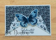 Floral Boutique Suite Meets Watercolor Wings  Stampin' Up! Demonstrator Lea Denton -Floral Boutique Suite Meets Watercolor Wings  Floral Boutique Suite and the beautiful Watercolour Wings Stamp Set. Don't they look amazing together! This card was so easy to do especially as I only used one ink pad.... I just used the stamping off method to create the different tones of Night of Navy ink on the butterfly. My thanks to Lyssa Griffin Zwolanek for the inspiration for this card.  All of the…