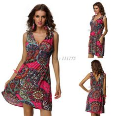 Free Shipping 2014 Fashion Vintage Print Casual Summer Beach Dress For Women  Novelty Dress Plus Size 4152  7.63 43e0465343a1