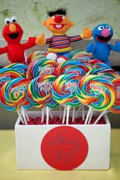 Sesame Street inspired lollipop display {Photo by Andrea Taylor Studio}