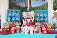 Fun dessert table at a circus birthday party! See more party planning ideas at CatchMyParty.com!