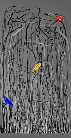 Reeds with Colour Birds Glen Josselsohn Contemporary Art