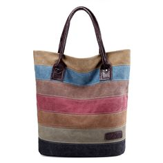 Women Stripe Leisure Canvas Tote Handbags Travel Tote Bags  Worldwide delivery. Original best quality product for 70% of it's real price. Hurry up, buying it is extra profitable, because we have good production sources. 1 day products dispatch from warehouse. Fast & reliable shipment...