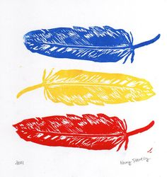 Red, Yellow and Blue Feathers@Kerry Focer Stavely #art #print #etsy #feathers $15.00