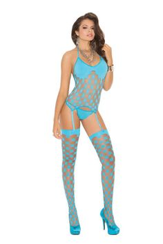 Three piece set Strappy diamond net camisette, g-string and stockings  Turquoise
