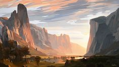 A Series on Painterly Landscapes on Behance Landscape Concept, Fantasy Landscape, Landscape Art, Landscape Paintings, Fantasy Concept Art, Fantasy Art, Landscape Illustration, Digital Illustration, Fantasy Illustration