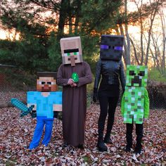 We are big Minecraft fans! Our family decided to create costumes and dress up for Halloween this year as Minecraft characters. Here we are dressed as Steve, Villager, Enderman and Creeper. Happy Halloween from the Bischoff family Minecraft Halloween Costume, Creeper Costume, Minecraft Costumes, Family Halloween Costumes, Boy Costumes, Holidays Halloween, Fall Halloween, Halloween Crafts, Halloween Party