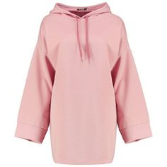 Boohoo Beth Wide Sleeve Relaxed Fit Sweat Dress   Boohoo ($21) ❤ liked on Polyvore featuring dresses, sleeved dresses, pink dress, wide dress, boohoo dresses and wide sleeve dress