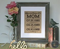 """Say """"Hello"""" to our newest Christmas gift ideas for mom this holiday season! This print can be customized for Dad and grandparents alike. Visit Knot & Nest for more burlap design options! Trending Christmas Gifts, Christmas Gifts For Him, Burlap Christmas, Gifts For Teens, Gifts For Her, Trendy Wedding, Wedding Gifts, Personalized Gifts For Mom, Birthday Name"""