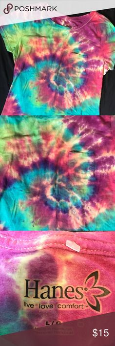 Colorful Swirl Tie Dyed Tee Shirt Left sleeve in need of mending but otherwise all is good :) Tops Tees - Short Sleeve