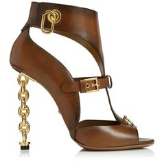 Leather Gladiator Sandal with Chain Heel Tom Ford