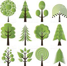 Tree Design Illustration Illustrators New Ideas Motifs Applique Laine, Retro, Clip Art, Tree Quilt, Trendy Tree, Tree Designs, Free Vector Art, Vector Graphics, Art Plastique