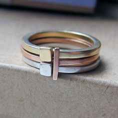 14k gold stack ring set - modern - industrial - unisex - mixed metals - alternative engagement -geometric rings - Metropolis stack on Etsy, $520.00