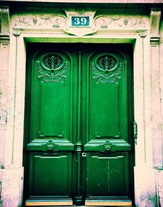 emerald green front door. new and old at the same time