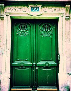 Photograph of a rustic, emerald green door in the Latin Quarter, Paris, France. I want emerald doors.