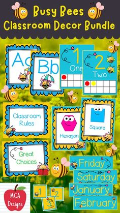 Check out my Busy Bees Classroom Décor Bundle featuring all you need to have a fresh new look for your classroom this fall! Check out the preview for a quick look at this adorable theme. #teacherspayteachers #tpt #backtoschool #classroommanagement Classroom Décor, 2nd Grade Classroom, Classroom Supplies, Classroom Posters, 2nd Grade Activities, Kindergarten Activities, Preschool, Welcome Banner, Welcome Poster