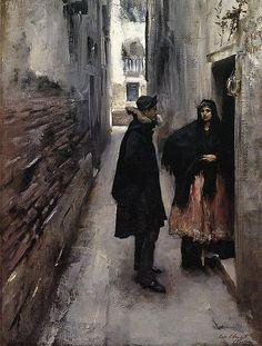 John Singer Sargent a street in Venice 1882
