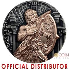 Niue-Island-ZEUS-GODS-OF-OLYMPUS-5-Silver-Coin-2017-Rose-Gold-plated-2-oz The Beautiful South, World Coins, Royal House, South Pacific, Silver Coins, Olympus, Rose Gold Plates, Tropical, Island