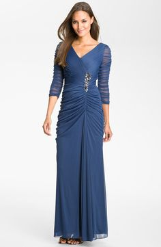 Free shipping and returns on Adrianna Papell Beaded Mesh Gown (Regular & Petite) at Nordstrom.com. Ruched mesh overlays a statuesque V-neck gown fashioned with sheer three-quarter-length sleeves and a beaded floral embellishment that anchors the gathered waist.