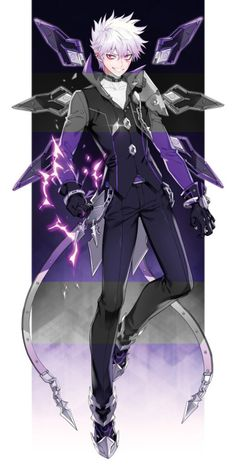My villian - his power is that he can control shadows and bend then and create weapons that he can control with his mind Anime Fantasy, Dark Fantasy Art, Anime Elsword, Add Elsword, Art Manga, Anime Art, Anime People, Anime Guys, Fantasy Characters
