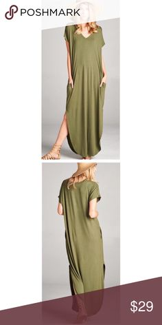 Boho Olive Oversize Slit Pocket Maxi Dress S M L Available in 7 colors now!!  Black, Mint, Ivory, Mocha, Olive, Black/White Stripe, and Gray/White Stripe!!  So beautiful!  Olive side slit maxi dress, pockets, slight cutout design on shoulders ,  oversize fit, Available in size Small,  Medium, or Large. No Trades, Price Firm unless Bundled.  BUNDLE 3 OR MORE ITEMS FOR 15 % OFF. Boutique Dresses Maxi