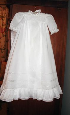 The Emery family Christening Gown - first worn by Mom - Grammy in 1923.  Worn by 31 children (1, a boy boy/girl twins, didn't get the chance).