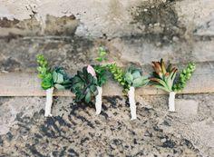 #succulents #boutonniere Photography by brettheidebrecht.com  Read more - http://www.stylemepretty.com/2013/08/16/texas-bb-wedding-from-brett-heidebrecht/