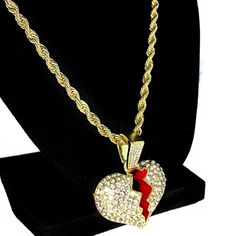 Gold-Tone Hip Hop Bling Stardust Small Open Wing Angel Oval Medallion 3mm 24 Solid Rope Chain