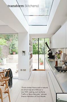 Skylight, Kitchen colours - layout. Home Beautiful April 2014