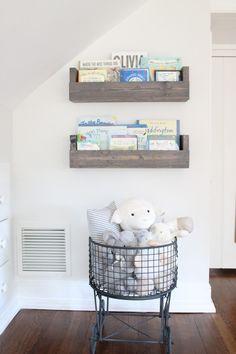 Rustic, vintage details in this nursery - we love the DIY'd bookshelves!