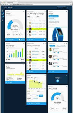 The  Garmin Connect   has a completely updated look and feel, with improved navigation and a customizable dashboard. http://www.fuel-band.net/garmin-vivofit-review/  The new Garmin Connect is now compatible with the the new Garmin fitness band  VivoFit.
