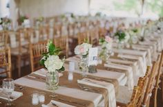 Burlap runners, lots of small floral arrangements in mason jars and a sprig of lavender at each place setting. replace the flowers in jars with lavender in weathered pots this would look lovely! Wedding 2015, Wedding Events, Our Wedding, Dream Wedding, Weddings, Table Arrangements, Floral Arrangements, Wedding Bells, Wedding Flowers